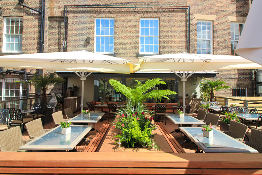 Outdoor terrace at Barluga Grey Street…
